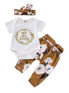 Infant Baby Girl Boy Halloween Clothes Outfit 4PCS Set Letter Print Romper+Grid Print Pants+Hat+Headbands 0-2T