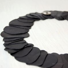 Fashion urban asymmetric collar necklace. Simple and elegance. Black layered recycled leather. OOAK. Ready to ship.