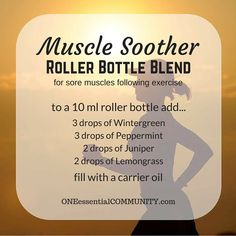 Did you overdo a workout? Wake up a little stiff? Try this muscle soother roller bottle blend made with wintergreen, peppermint, juniper, and lemongrass. It really works!! And click image for 20 other roller bottle recipes including FREE PRINTABLE ROLLER BOTTLE LABELS