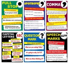 Full stop / apostrophe / comma / capital letters / question mark / speech marks.
