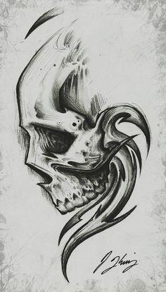 Pin uživatele jessica na nástěnce art tattoo drawings, skull Skull Tattoo Design, Skull Design, Skull Tattoos, Body Art Tattoos, Tattoo Designs, Tattoo Ideas, Tattoo Sketches, Tattoo Drawings, Drawing Sketches