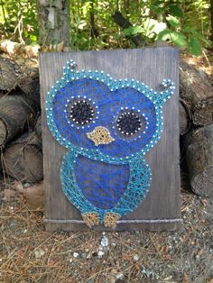 String Art Owl   #owl #bird #hooter #hoot #owls #nature #colorful #stringart #rustic #outdoors #forest #cutie #cute #nursery #homedecor #custom #crookedtreetraders #madeinmaine #woods #animals #fly #perch #eyes