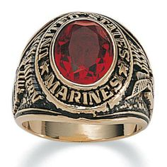 Mens Oval Cut Simulated Ruby 14k Yellow Gold-Plated Antique-Finish Marines Ring Palm Beach Jewelry. $19.99