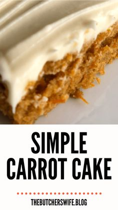 Yummy Carrot Cake is easy to make! It is simple but delicious! A moist carrot cake with a sweet and creamy cream cheese frosting! Carrot Cake Bars, Easy Carrot Cake, Moist Carrot Cakes, Easy Cake Recipes, Frosting Recipes, Cupcake Recipes, Dessert Recipes, Banana Recipes, Yummy Recipes