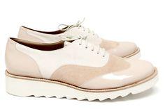 Chaussures Femme Richelieux Printemps Eté 2015 Maurice Manufacture BIANCA Verni nude - Chevre velours nude - Chevre velours ecru