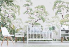Tree wallpaper living room forest mural ideas for 2019 Tree Wallpaper Living Room, Forest Wallpaper, Kids Wallpaper, Wall Wallpaper, Modern Wallpaper, Exotic Homes, Forest Mural, Tree Wall Murals, Sunflower Wallpaper