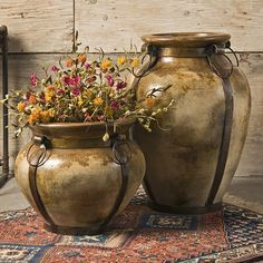 This beautiful oversized terracotta planter is accented with authentic iron details. The weathered finish and rustic trim give it the look of an antique vase. Deck Decorating, Tuscan Decorating, Garden Boxes, Garden Planters, Container Plants, Container Gardening, My French Country Home, Outdoor Pots, Landscaping With Rocks