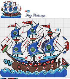 Кораблик Cross Stitching, Cross Stitch Embroidery, Embroidery Patterns, Crochet Patterns, Crochet Cushions, Tapestry Crochet, Cross Stitch Designs, Cross Stitch Patterns, Cross Stitch Pillow