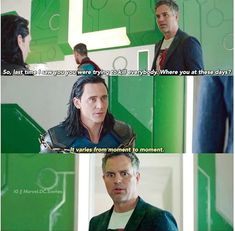 "1. I love Loki's voice in this scene!!! Soooooo sexy!!! 2. I love Bruce's face at the end!! He looks like he's says ""the f*ck? You are completely insane!"""