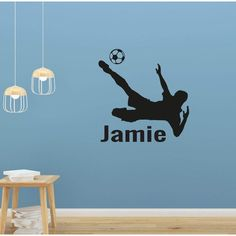 Boys Personalised Name Wall Sticker Football Kick Boys Wall Stickers, Wall Stickers Quotes, Childrens Wall Stickers, Wall Decals, Football Wall, Childrens Wall Art, Personalized Wall Art, Metallica, Monitor