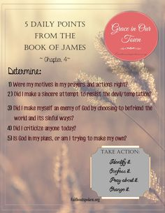 To be used as a guide for Bible study and journaling, along with our Grace in Our Town devotional of the book of James, found on our website.