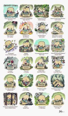 Enriqueta leyendo… I love!!! (ilustración de Liniers) Douglas Adams, Lewis Carroll, Roald Dahl, Reading Art, Neil Gaiman, Humor Grafico, Children's Literature, Embedded Image Permalink, Book Quotes