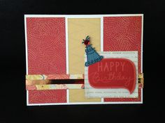 "#206 Used Florence & matching embellishments. Stamp set is a retired Hostess Rewards ""Birthday Wish"" using Poppy & Sapphire inks."