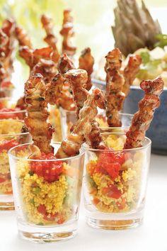 kycklingspett Catering Food Displays, Couscous, Chutney, Pasta Salad, Tapas, Shrimp, Buffet, Mango, Appetizers