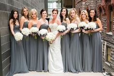 silver grey and burgundy bridesmaids in dresses - Google Search