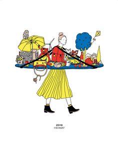 www.buchczik.com © Hort // In dem Kalender Heimat 2016, DIN A4, lässt die Berliner Agentur Hort  jetzt 13 Illustratoren aus der ganzen Welt zeichnen und erzählen, was für sie Heimat ist ... für die Agentur Uniplan