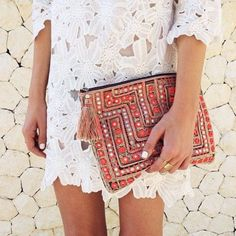 Bag: clutch, dress, lace, white, floral, boho, coachella, fashion, hippie, embellished, pouch, white crochet dress, crochet dress, cocktail dress, summer dress, spring dress, maxi pouch, boho chic, ethnic, hippie chic, white lace dress, festival, bohemian, silver, diamonds, gypsy, indie - Wheretoget