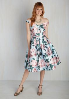 Night in Shining Ardor Dress. Express your passion for fashion at tonights soiree by arriving draped in this off-the-shoulder dress by Chi Chi London. #multi #prom #modcloth