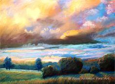 "Fran Redmon Pastel Paintings, Kentucky Artist franredmonfineart.com    Amber Evening, 15""X11"" ""Horizon:Contemporary Landscape"" Danville Community Arts, Danville, Ky. September-November 2016"