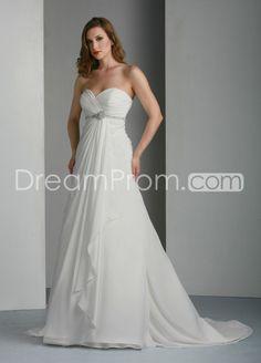 Glamorous Empire Sweetheart Floor-Length Chapel Beaded Wedding Dresses