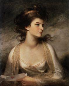 John Hoppner (1758-1810) - Portrait of a Lady as Evelina. Oil on Canvas. England. Circa 1780. 68.5cm x 53.5cm.