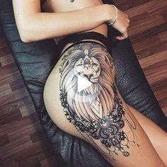 Side Thigh Tattoos Women, Hip Thigh Tattoos, Hip Tattoos Women, Sexy Tattoos, Unique Tattoos, Cute Tattoos, Black Tattoos, Tattoo Girls, Girl Tattoos