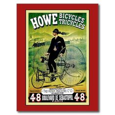 Vintage Victorian Howe tricycle,  Bicycles advertising poster postcards
