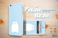Cute iPhone 5 case, polar bear baby blue iPhone 5 hard case, iPhone 5 cover with front skins, iPhone hard case