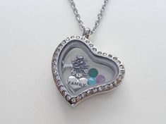 Floating Charm Heart Locket Necklace Birthstones Necklace