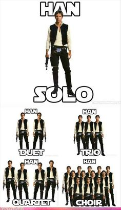 An awesome Star Wars themed chart for the teaching music terms: Solo, Duet, Trio, Quartet and Choir. Star Wars Film, Simbolos Star Wars, Star Wars Jokes, Funny Star Wars Pictures, Images Star Wars, Funny Pictures, Funny Pics, School Pictures, Sports Pictures