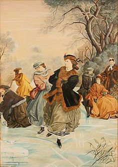 Antique Ice Skating Old Painting