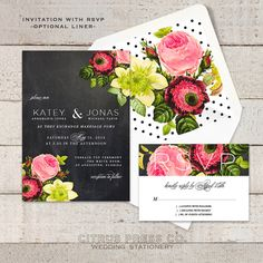 Rustic Vintage Rose Wedding Invitation with Chalkboard background. Botanical, Romantic floral flowers | Pretty and cheap invites.