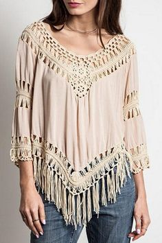 Tassels Hollow Out Solid Color Blouse