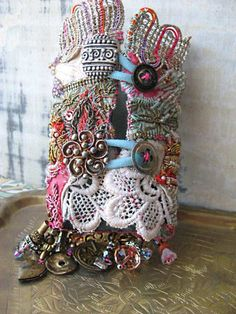 SALE - for limited time- Antique Metallic Gypsy Jangle Bracelet, Pink, Gold, Blue, Red, Purple,Bohemian Gypsy, Cuff. $210.00, via Etsy.