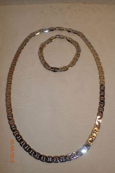 "14K GP White Mariner Link Thick Chain Necklace 22.5"" Bracelet 8"" Set Mens #Unbranded"