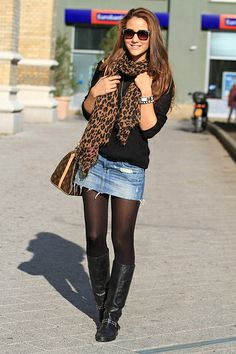 pretty girl denim skirt tights pantyhose and bootsoutfits