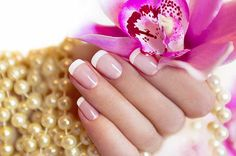 Full manicure when compared to acrylic and monomer. with our large selection of colors, you can get awesome gel polish colors with one of color powders. French Nails, Shellac French Manicure, Manicure Y Pedicure, Manicure At Home, Nail Spa, Gel Nail, Dot Nail Art, Polka Dot Nails, Nail Pink