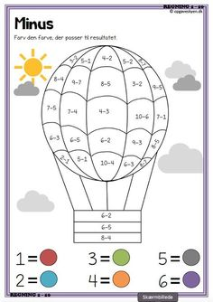 Math Coloring Worksheets, Kindergarten Math Worksheets, Preschool Learning Activities, Teaching Kids, Kids Learning, Printable Preschool Worksheets, Multiplication Worksheets, Addition Worksheets, Math For Kids
