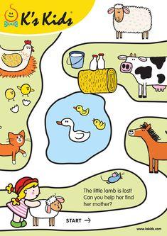 English Activities For Kids, Fun Worksheets For Kids, Mazes For Kids, Toddler Learning Activities, Brain Activities, Preschool Worksheets, Preschool Activities, Learning Numbers Preschool, Shapes Worksheet Kindergarten