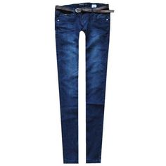 Denim blue cotton skinny jeans ($49) ❤ liked on Polyvore