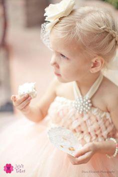 Flower-girl in Soft Peach