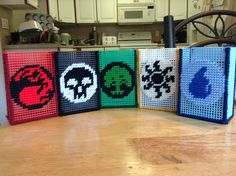 Magic The Gathering deck card boxes! Made out of plastic canvas.
