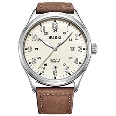 BUREI Mens Luminous Markers Expedition Date Quartz Watch with Brown Strap Beige Dial >>> Details can be found by clicking on the image.