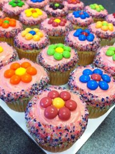 Skittles Cupcakes. except I would put m&m instead