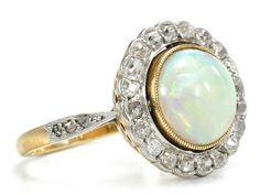 Vintage Edwardian Opal Diamond Ring