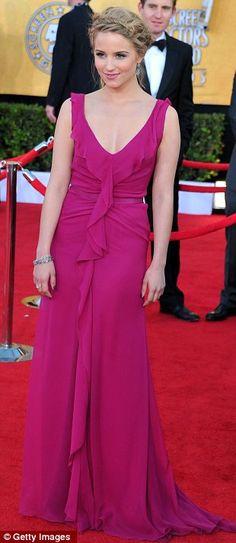 Dianna Agron wearing Carolina Herrera at the SAG Awards