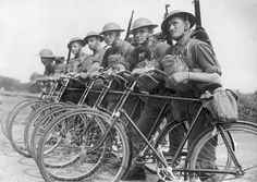 Soldiers of the Black Watch (The Royal Highland Regiment) patrol the south coast of England on bicycles during World War I, on the lookout for enemy parachutists, circa 1916.