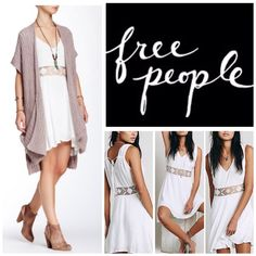 """Free People Ivory Swingy Mini Dress.  NWT. Free People Ivory Swingy Mini Dress, 100% rayon, washable, 20"""" armpit to armpit (40"""" all around), 38"""" waist (no stretch), 34"""" middle length, 37"""" side length, sheer crochet waistband, hip pockets, pullover style, plunging V neckline, adjustable tie in back, lined skirt, asymmetrical hem, measurements are approx.  No PayPal...No Trades... Free People Dresses Mini"""