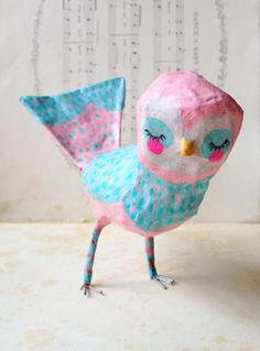 Pink Blue Birdie paper mache bird by heartsandneedles on Etsy