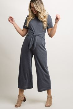7d4bdb213a30 Charcoal Grey Ribbed Tie Front Jumpsuit